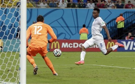 Daniel Sturridge scoring England's one goal on a play that started with an exquisite pass from fellow Liverpudlian Sterling.