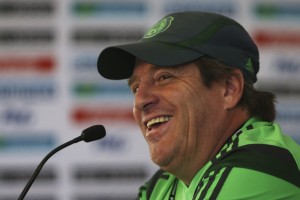 Mexican coach Miguel Herrera is all smiles.