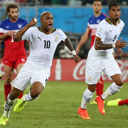 Ghana midfielder André Ayew celebrating his goal against the U.S. He celebrated even more ecstatically after scoring against the Germans.