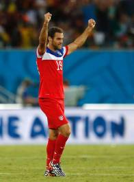 Graham Zusi celebrating his exquisite corner against Ghana.
