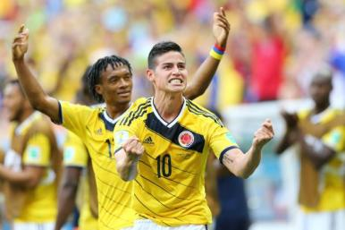 Colombia's young star James Rodriguez celebrates his goal against the Ivory Coast.