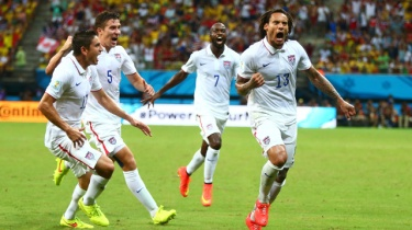 Jermaine Jones in ecstasy after equalizing against Portugal.