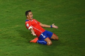 Alexis Sánchez celebrating his goal against Australia. Can Spain slow down the inspired phenom?