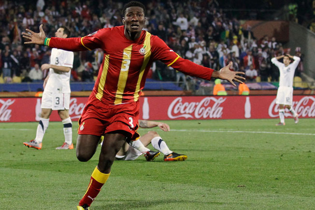 Asomoah Gyan, after scoring the game winning goal against the US in 2010.