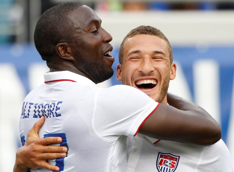 Jozy Altidore and Fabian Johnson embrace after connecting for the go-ahead goal in the first half.