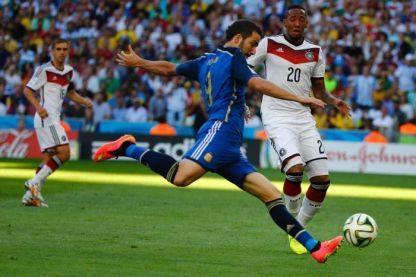 Argentine forward Gonzalo Higuaìn will regret missing an easy chance in the first half against the Germans. Soccer fans watching the game regret it too.