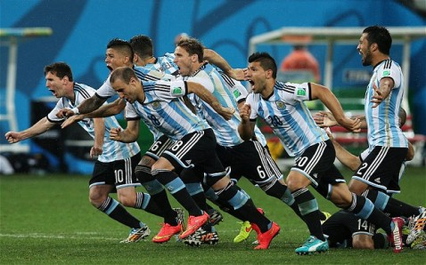 The Argentine players celebrating their penalty kick victory over the Netherlands.