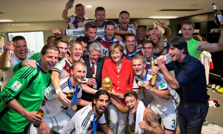 German Chancellor Angela Merkel, who is also very efficient, with her winners.