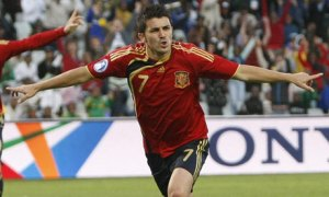 Villa after scoring for Spain