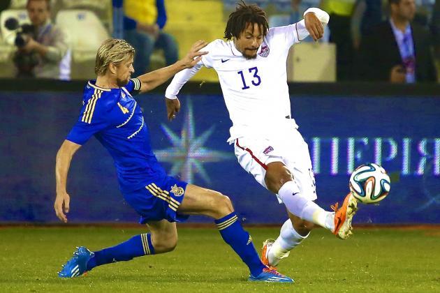 Jermaine Jones makes a challenge against Ukraine in Cyprus