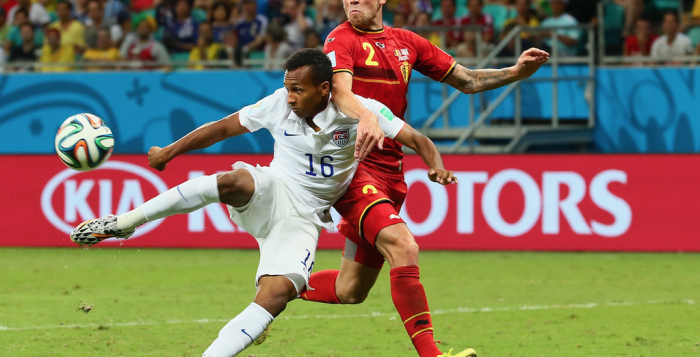Julian Green scores a goal to bring the US within on with just minutes remaining in extra time.