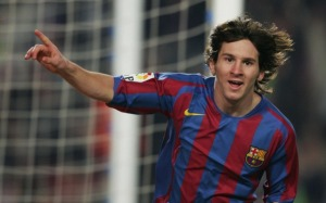 Messi celebrating his first of  his 286 FC Barcelona goals
