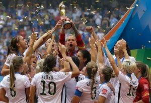 The USWNT celebrating their 3rd World Cup title